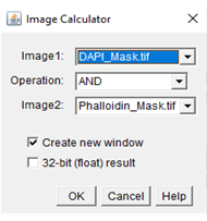 An example image of the image calculator window for ImageJ and what inputs to use.